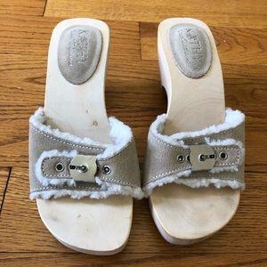Kathy Van Zeeland Suede Fleece Lined Wood Sandals